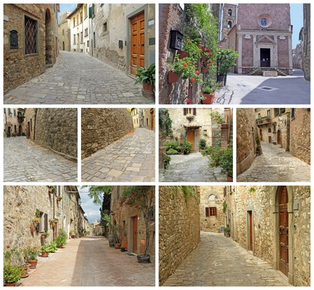 images from borgo Montefioralle, borgo Sovana and borgo Pitigliano, Tuscany, Italy photo