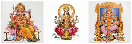 ganesh: collage con la diosa Lakshmi y Ganesha Foto de archivo