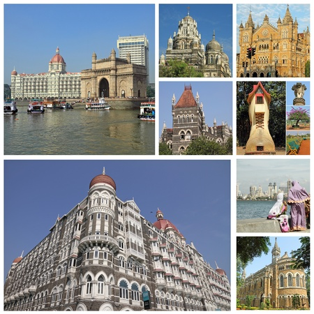 collage with landmarks of indian city Mumbai (formerly Bombay ) India, Asia