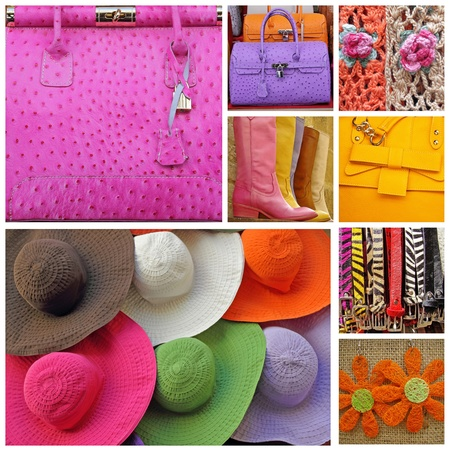 collage with images of women accessories  from shop window display in Italy Standard-Bild