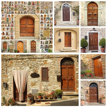 poster with collection of many wooden doors from Italy photo