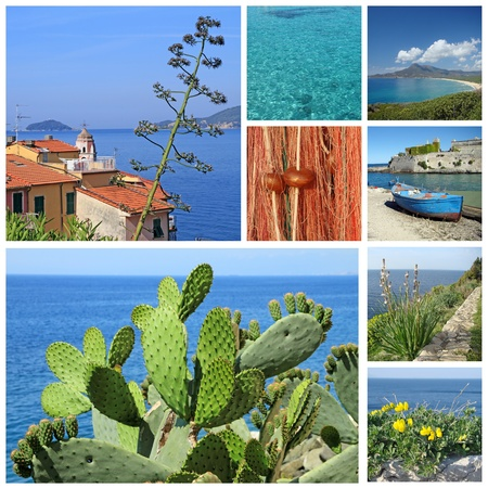 collage with images of marine landscape of Mediterranean , Italy, Europe photo