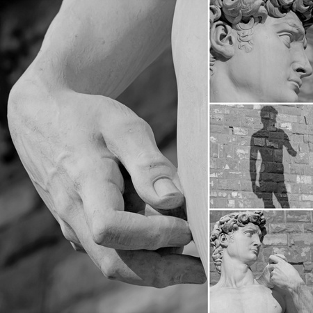 collage with details of  italian sculpture of David by Michelangelo, Firenze, Italy, Europe