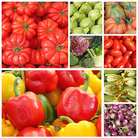 agriculture wallpaper: collage with fresh vegetables Stock Photo