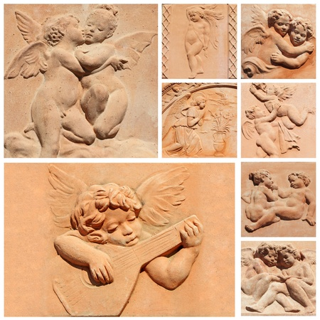 tuscan craft collage, angelic reliefs in terracotta, Italy photo