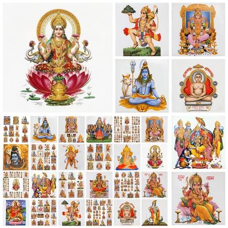 collage  with hindu gods , India Standard-Bild