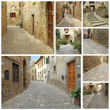 collage with old narrow stone  streets in Tuscany, Italy, Europe photo