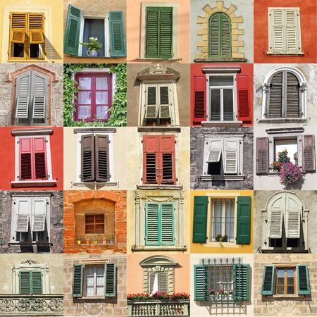 stores: collage avec des vieilles fen�tres en provenance d'Italie, l'Europe