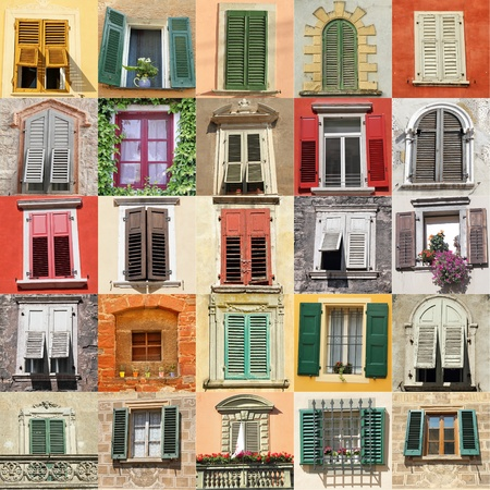 collage with old windows from Italy, Europe