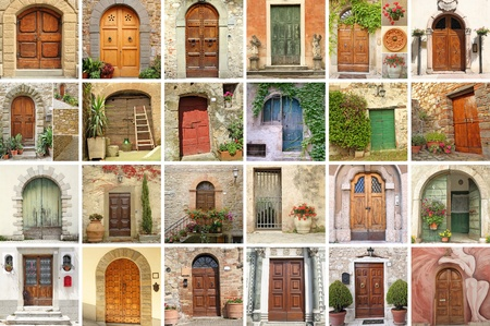 collage with vintage doors from Italy, Europe photo