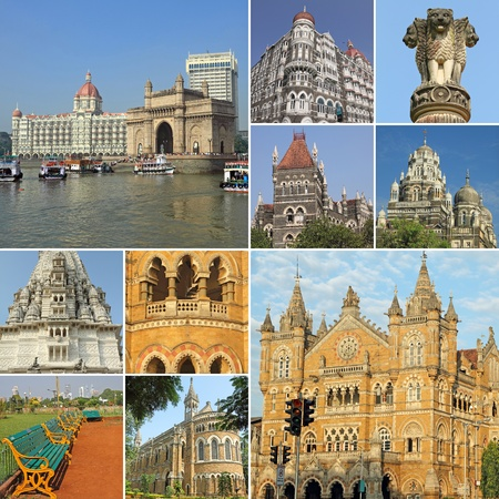 collage with symbols of indian city Mumbai (formerly Bombay ) India, Asia