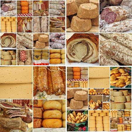 charcutería: collage con salchichas y queso, Europa