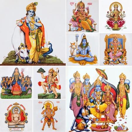 krishna: collage met Krishna, godheid Hanuman en heer Rama en andere Hindoe goden, India, Azië Stockfoto