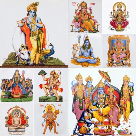 shiva: collage with  Krishna , deity Hanuman and lord Rama and other hindu gods , India, Asia