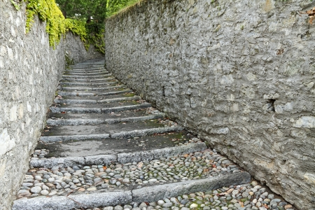 bellagio: alley with stone steps and stone walls, Bellagio, Lombardy, Italy