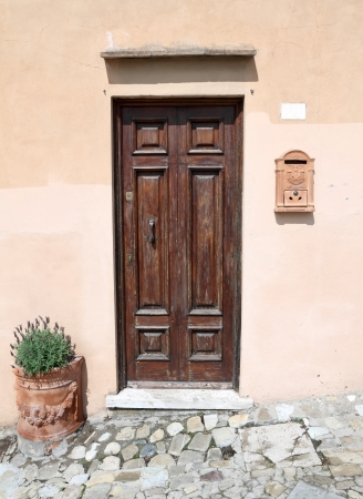front door with elegant details in Tuscany, Italy, Europe photo