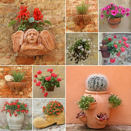 collage with flower pots in Italy, Europe photo