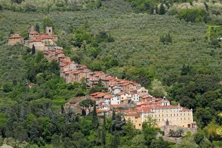 italian village: Scenic position of Collodi village with villa Garzoni, famous also for Pinocchio Park, Tuscany, Italy, Europe Stock Photo