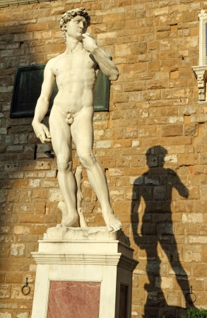 Michelangelos David sculpture in sunset light. Piazza della Signoria, Florence, Italy, Europe photo