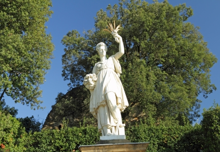 Sculpture of Ceres ( greek Demeter ) ancient roman goddess in  Gardens of Boboli in Florence, Tuscany, Italy, Europe
