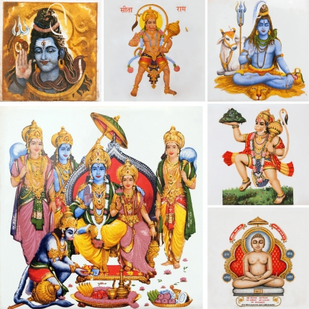 collage with hindu gods , India photo