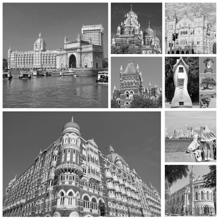 collage with landscapes  of indian city Mumbai (formerly Bombay ) India, Asia