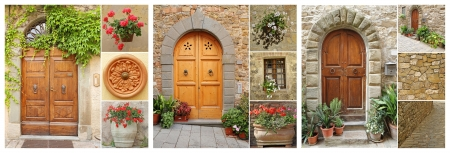 abstract doorways set to the tuscan houses, Italy, Europe Stock Photo