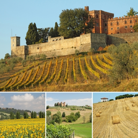 composition with spectacular tuscan landscapes, Tuscany, Italy, Europe