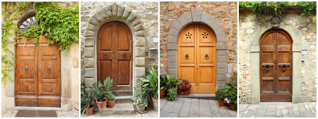 collection of elegant tuscan doors, Italy, Europe  photo