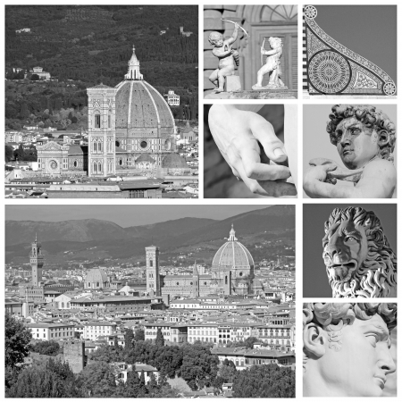 duomo of florence: collage with florentine touristic attractions,Florence, Tuscany,  Italy, Europe Stock Photo
