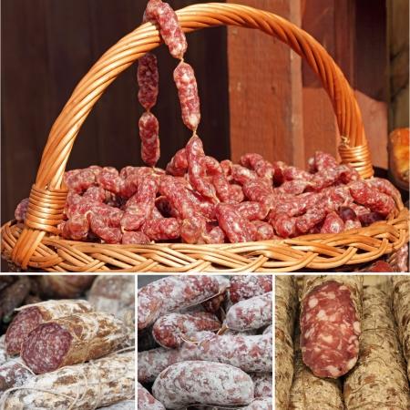 charcutería: collage con imágenes de salchichas en el mercado