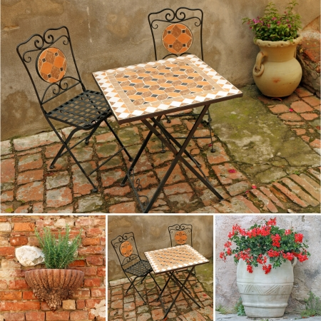 collage with images of italian terrace, Tuscany, Europe photo