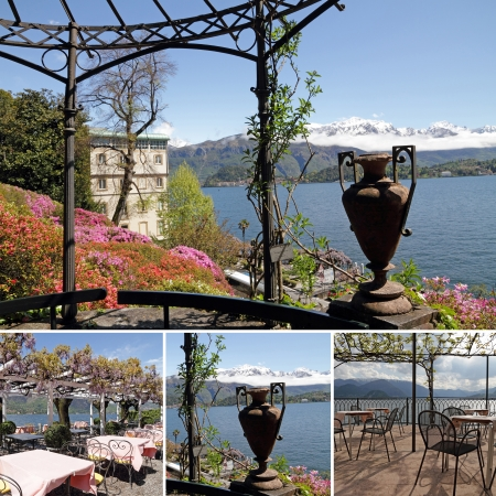 arbor: collage with images of  terraces on lake Como with fantastic views of surrounding scenery,Tremezzo, Bellagio, Varenna,Lombardy, Italy, Europe Stock Photo