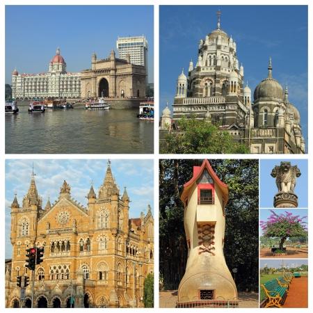 taj: poster with famous views  of Bombay city, India, Asia Stock Photo
