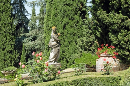 scene from italian historic garden with woman statue and vase in terracotta with red geranium, Garden of Villa Peyron, Fiesole, Tuscany, Italy, Europe