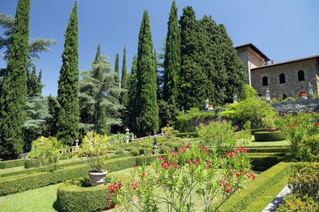 Garden of Villa Peyron in Fiesole, Florence, Tuscany, Italy, Europe