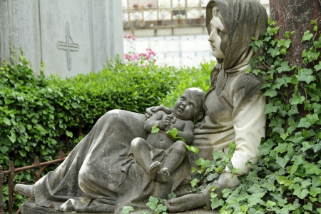 churchyard: historic tomb on Cemetery delle Porte Sante in Florence, Italy, Europe