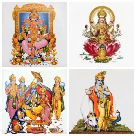 set of antique tiles with images of hindu gods: ( Gansha, Lakshmi,  Hanuman and Lord Rama and his wife Sita , and Krishna )