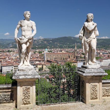 Antique Garden Statues In Bardini Garden And Spectacular View Of Florence,  Tuscany, Italy,