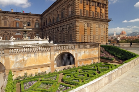 entrance to the Boboli Gardens in Florence with view of Pitti Palace and the cityscape on the background photo