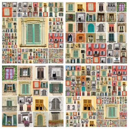abstract wall with many windows , images from Italy, Europe photo