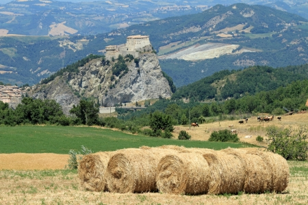 rural landscape with San Leo castle ,province of Rimini, Emilia Romagna, Italy, Europe photo