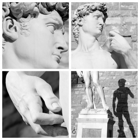 italy background: collage with images of sculpture of David by Michelangelo, Florence, Italy, Europe
