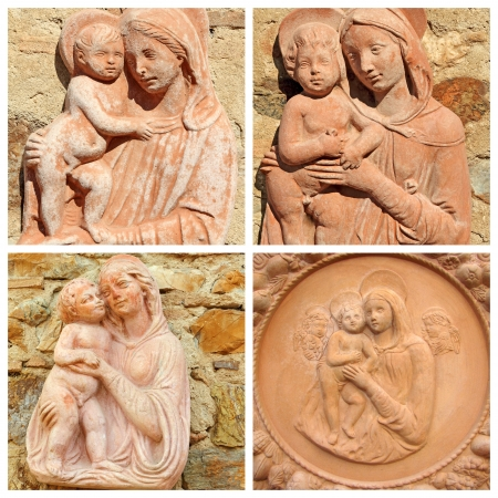 collage with reliefs with  Madonna and child in tuscan terracotta, Italy, Europe Stock Photo - 15182093