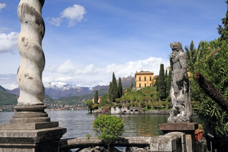 italiA: Fantastic landscape of lake Como seen from gardens of Villa Monastero, Varenna, Lombardy, Italy, Europe