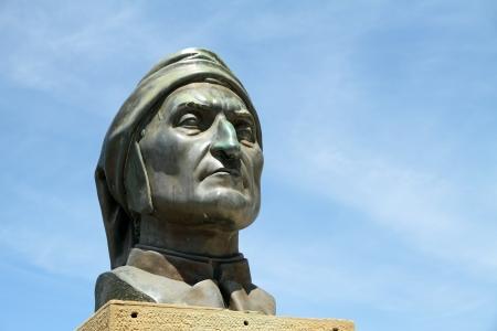 commemorative: Commemorative monument of Dante  Alighieri ,major Italian poet of the Middle Ages, Poppi, Tuscany, Italy, Europe Stock Photo