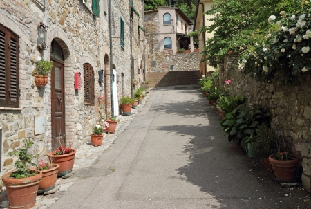 mediterranean home: picturesque street in borgo Suvereto, Tuscany, Italy, Europe