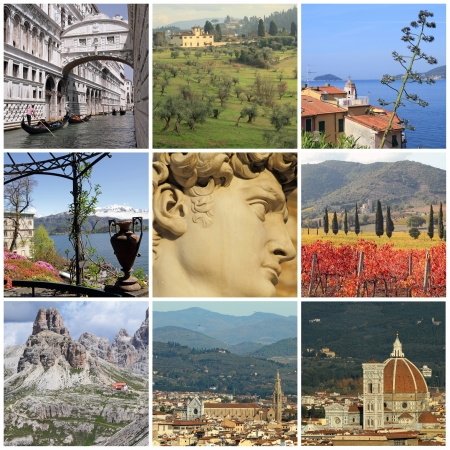 florence: collage with world famous attractions of Italy, Europe Stock Photo