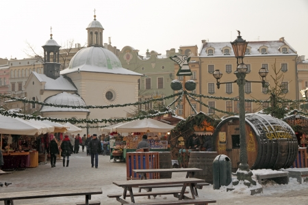 Traditional Christmas market on Main Square ( called Rynek ) in Krakow, Poland