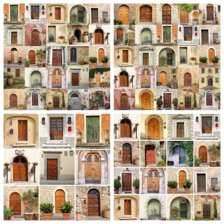 collage made of many images of beautiful old doors from Italy, Europe photo